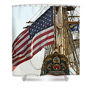 Kalmar Nyckel American Flag Shower Curtain