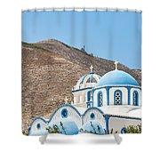 Kamari Church And Mountain Shower Curtain