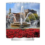 Kansas City Fountain Ablaze In Crimson Shower Curtain
