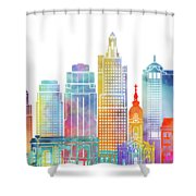 Kansas City Landmarks Watercolor Poster Shower Curtain