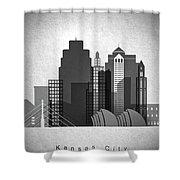 Kansas City Skyline In Black And White Shower Curtain