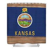 Kansas Rustic Map On Wood Shower Curtain
