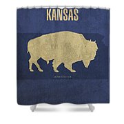 Kansas State Facts Minimalist Movie Poster Art Shower Curtain