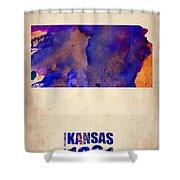 Kansas Watercolor Map Shower Curtain by Naxart Studio