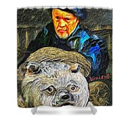 Kaptain Van Janned And His Trusty Bear Vincent Shower Curtain