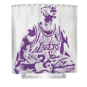 Kareem Abdul Jabbar Los Angeles Lakers Pixel Art Shower Curtain