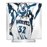 Karl Anthony Towns Minnesota Timberwolves Pixel Art Shower Curtain