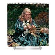 Kashia Pomo Woman Weaving Basket Shower Curtain