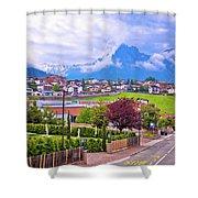 Kastelruth And Schlern Peak In Alps Landscape View Shower Curtain