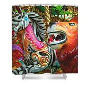 Kate The Zebra And  Lion Carousel  Shower Curtain