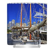 Kathleen Gillett The Artist Cruising Ketch Shower Curtain