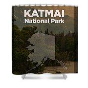 Katmai National Park In Alaska Travel Poster Series Of National Parks Number 34 Shower Curtain