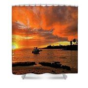 Kauai Sunset And Boat At Anchor Shower Curtain