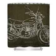 Kawasaki Motorcycle Blueprint, Mid Century Brown Art Print Shower Curtain