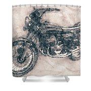 Kawasaki Triple - Kawasaki Motorcycles - 1968 - Motorcycle Poster - Automotive Art Shower Curtain