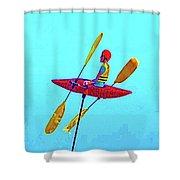 Kayak Guy On A Stick Shower Curtain