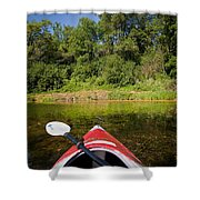 Kayak On A Forested Lake Shower Curtain