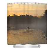 Kayak On The River At Dawn Shower Curtain