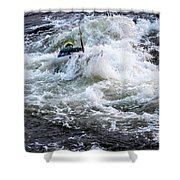 Kayak Roll Up In Pipeline Rapids 5959 Shower Curtain