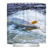 Kayaker Goes Over In Pipeline Rapids 5965ct Shower Curtain