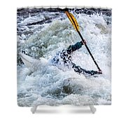 Kayaker In Action At Pipeline Rapids In James River 5956c Shower Curtain