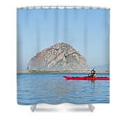Kayaker In Morro Bay Shower Curtain by Bill Brennan - Printscapes