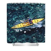 Kayaker Over Coral Reef Shower Curtain