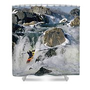 Kayaker Running Great Falls Shower Curtain