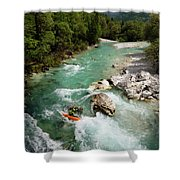 Kayaker Shooting The Cold Emerald Green Alpine Water Of The Uppe Shower Curtain