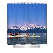 Kayakers In Alaska Shower Curtain
