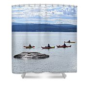 Kayakers Paddle To Fishing Cone On Yellowstone Lake Shower Curtain