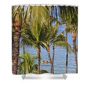Kayakers Through Palms Shower Curtain