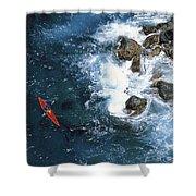 Kayaking Along Coastline Shower Curtain