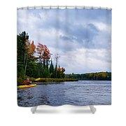 Kayaking In Autumn Shower Curtain