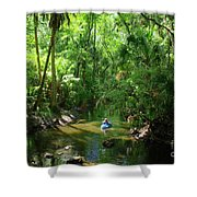 Kayaking In Tropical Paradise Shower Curtain