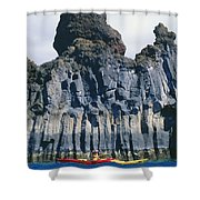 Kayaking Past Cliffs Shower Curtain