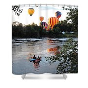 Kayaks And Balloons Shower Curtain