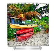 Kayaks In Paradise Shower Curtain