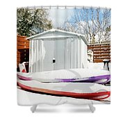 Kayaks In The Snow Shower Curtain