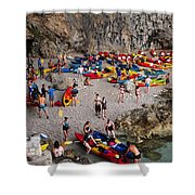 Kayaks On A Beach Shower Curtain