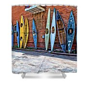 Kayaks On A Wall  Shower Curtain