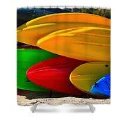 Kayaks On The Beach Shower Curtain