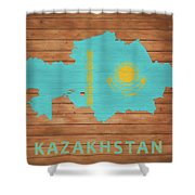 Kazakhstan Rustic Map On Wood Shower Curtain