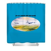 Kc-130 Tanker Aircraft And Pave Hawk With Banner Shower Curtain