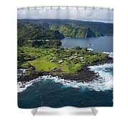 Keanae Peninsula Aerial Shower Curtain