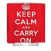 Keep Calm And Carry On Shower Curtain by English School