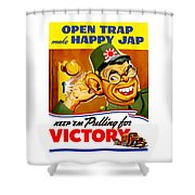 Keep Em Pulling For Victory - Ww2 Shower Curtain