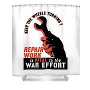 Keep The Wheels Turning - Ww2 Shower Curtain