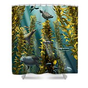 Kelp Forest With Seals Shower Curtain
