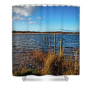 Kenfig Pool In Wales Shower Curtain